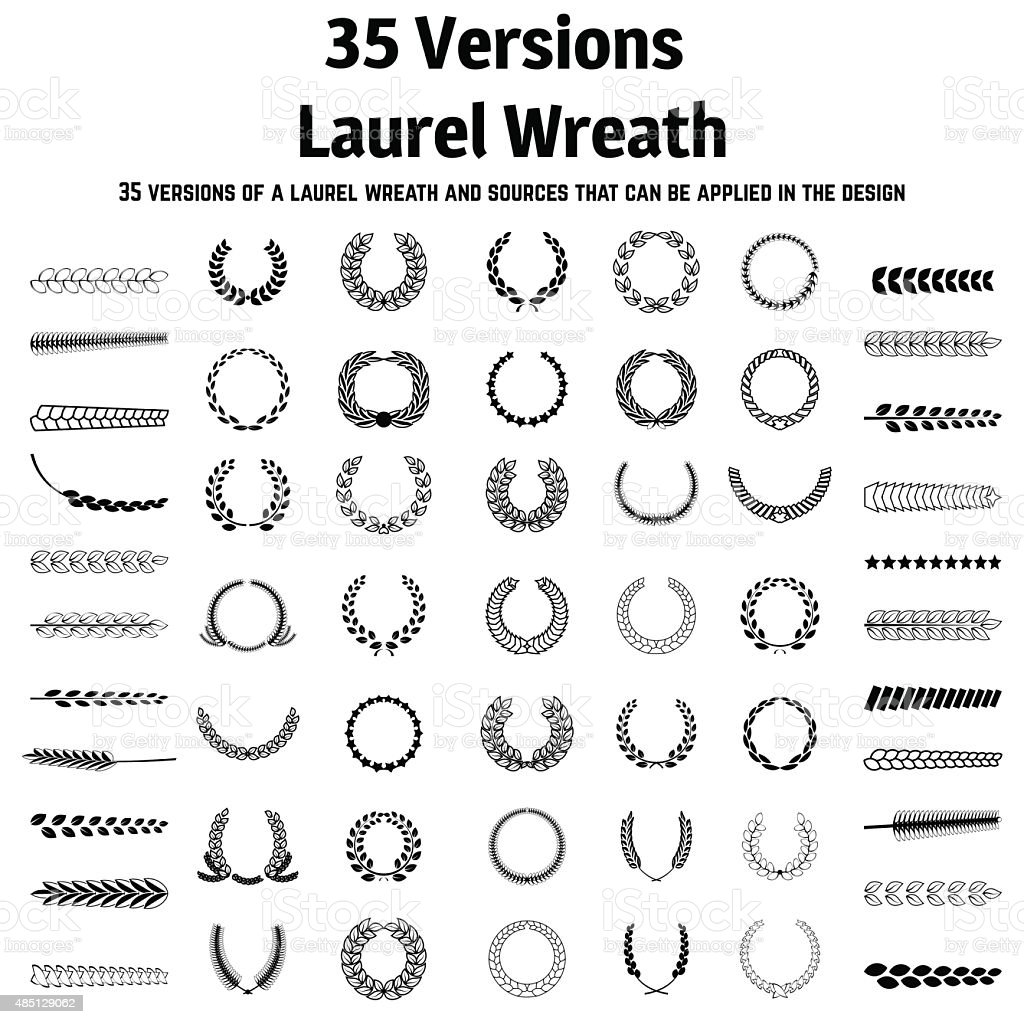 Wreath set vector art illustration