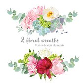 Floral mix wreath vector design set. Green, white and pink hydrangea, wild rose, protea, succulents, echeveria, burgundy red peony, eucaliptus leaf. Stylish horizontal flower banner.