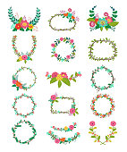 Wreath vector wreathed flowers and floral decorations to decorate or wreathe flowered frame with wreathen leaves for wedding greeting card illustration isolated on white background set.