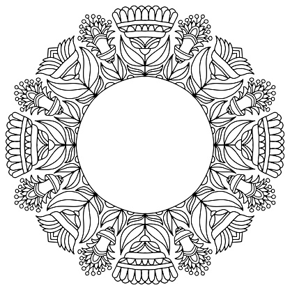 wreath with abstract flowers drawn folk style on a white background for coloring, vector