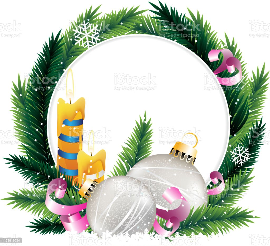 Wreath with burning candles and Christmas decoratiopns royalty-free stock vector art