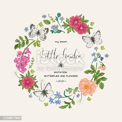 istock Wreath with butterflies and flowers. 1220827905