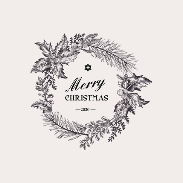 Wreath with christmas plants. vector art illustration