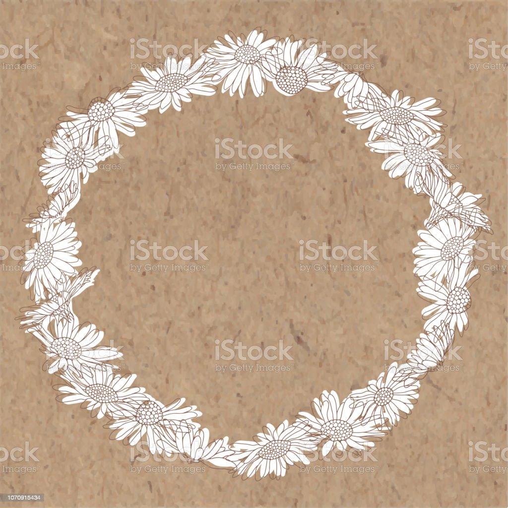 Daisy flowers. Round frame,wreath. Vector monochrome illustration....