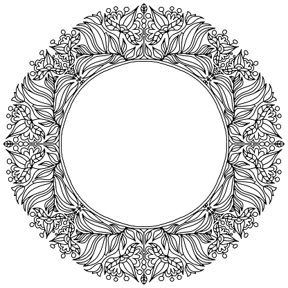 wreath with flowers and leaves drawn for coloring on a white background, vector