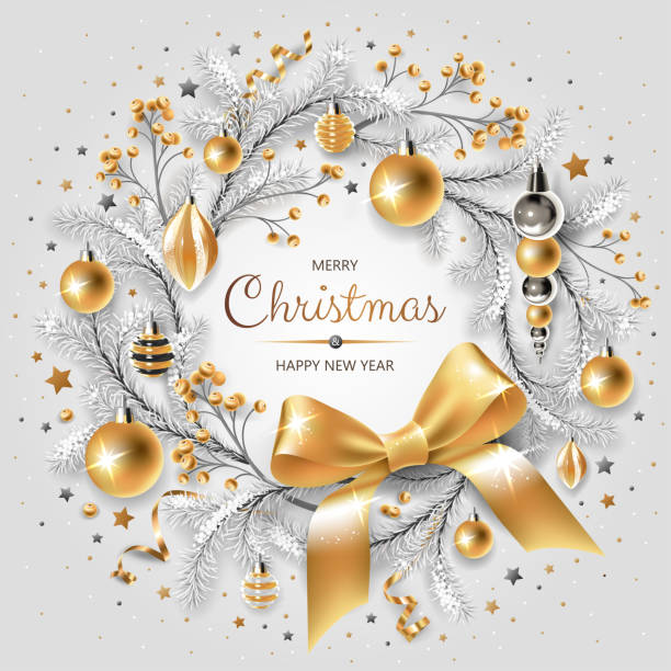 Wreath with gold and silver Christmas tree, berries, decoration, ribbons, gifts and other festive elements on white background. vector art illustration