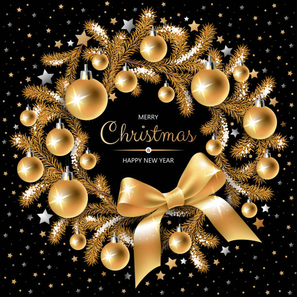 Wreath with gold and silver Christmas tree, berries, decoration, ribbons, gifts and other festive elements on black background. vector art illustration