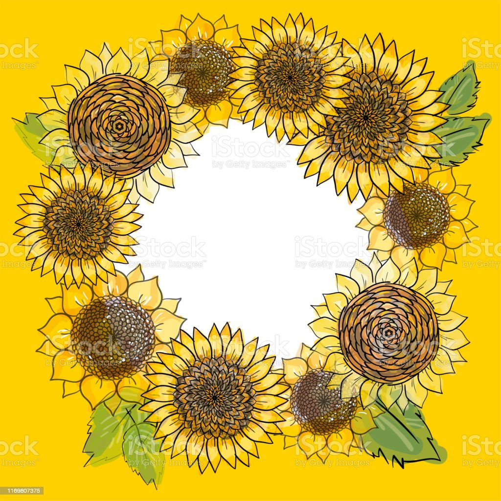 Wreath With Hand Drawn Sunflowers Round Frame Rustic Floral