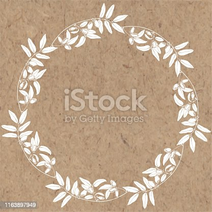 Vector illustration with branch of honeysuckle , design element on kraft paper. Invitation, greeting card.