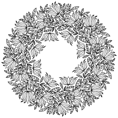 wreath with leaves and floral ornaments drawn for coloring on a white background, vector