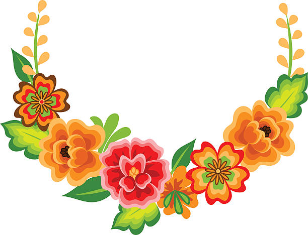 Wreath with mexican flowers vector art illustration