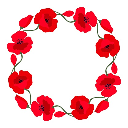 Wreath with red poppies isolated on a white background. Vector illustration.