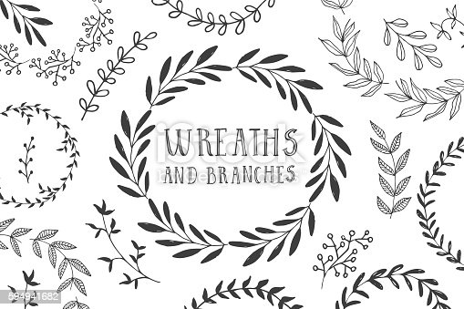 Wreaths and branches. Ink vector illustration.