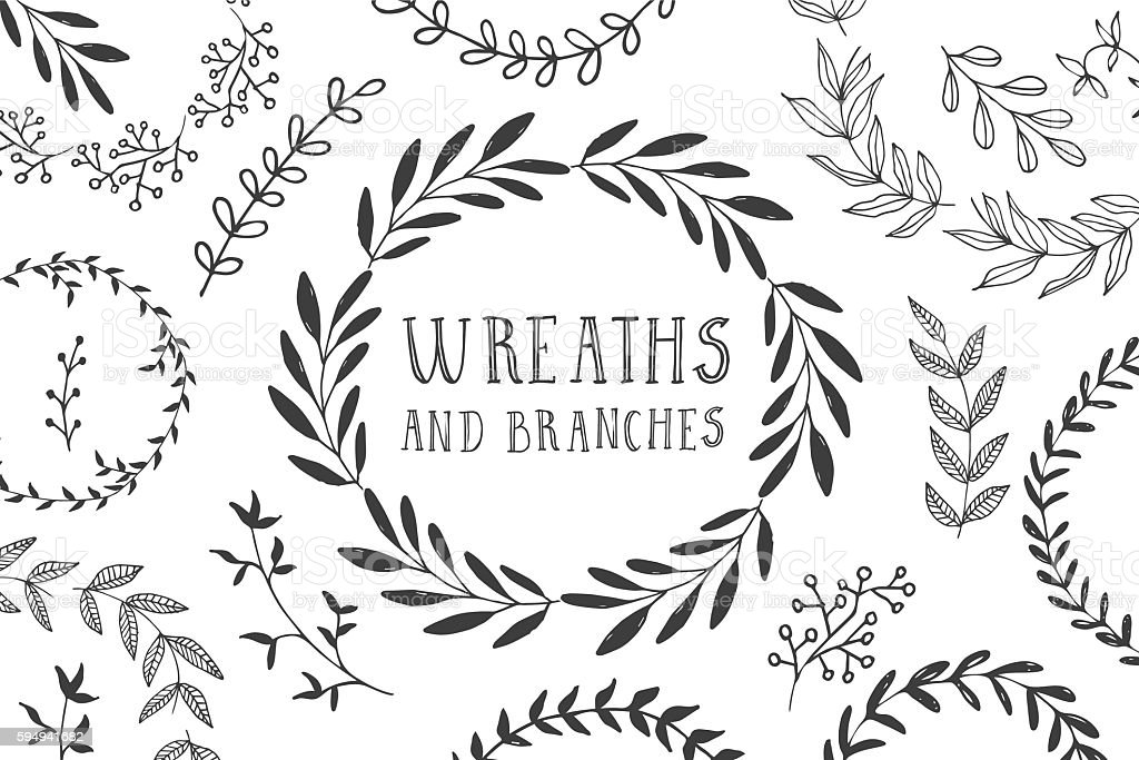 Wreaths and branches vector art illustration