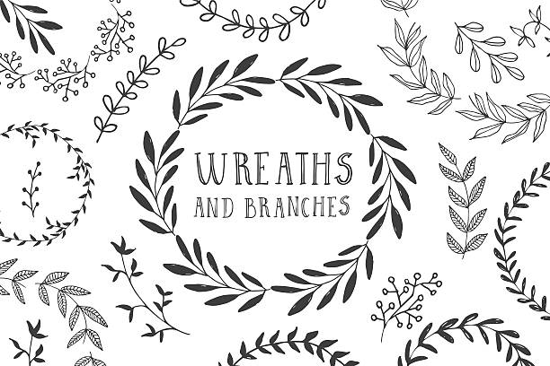 wreaths and branches - floral borders stock illustrations, clip art, cartoons, & icons