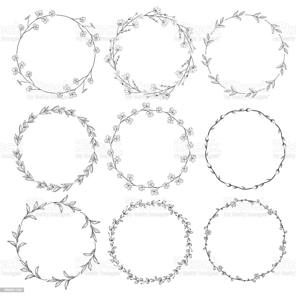 Kränze, Zweige, Lorbeeren mit Kräutern, Pflanzen und Blumen – Vektorgrafik