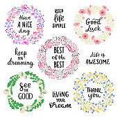 Set of floral wreaths decorated with message on a white background. Vector - Illustration.