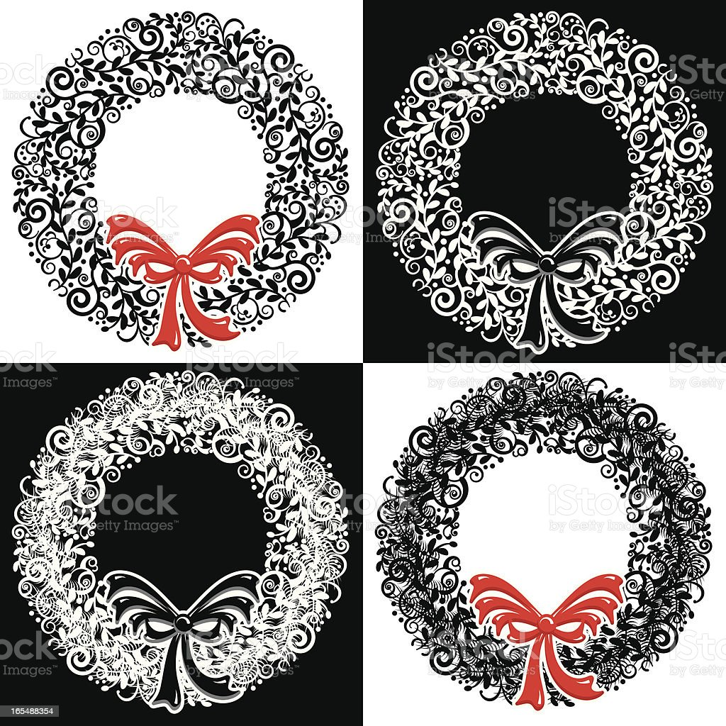 Wreaths of White and Black royalty-free stock vector art