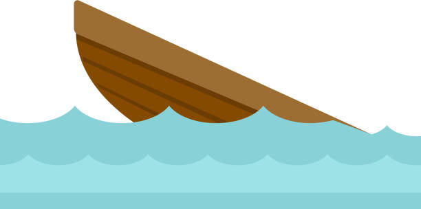 wrack von einem boot-vektor-cartoon-illustration - gesunken stock-grafiken, -clipart, -cartoons und -symbole