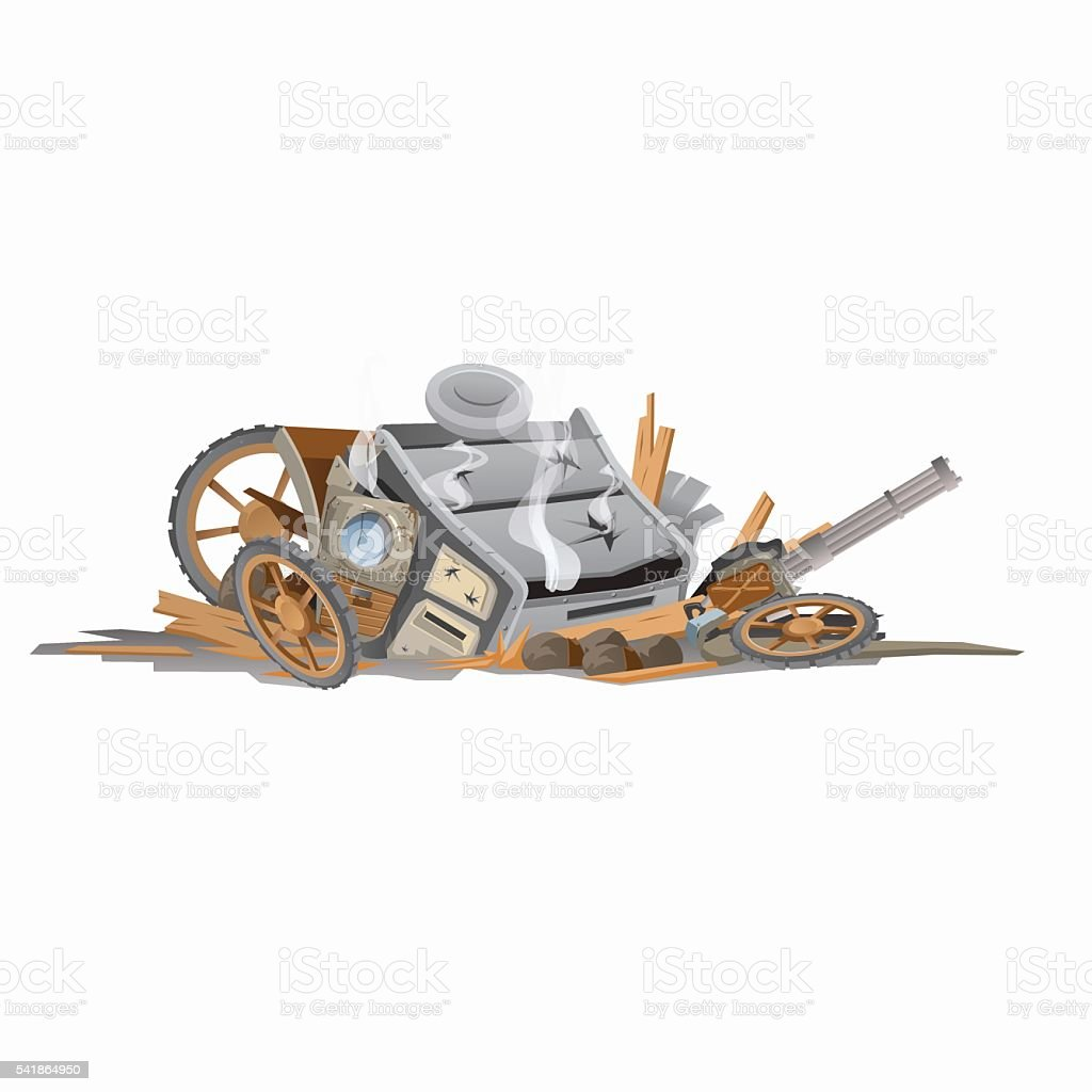 Wreckage of carriage, image in cartoon style vector art illustration