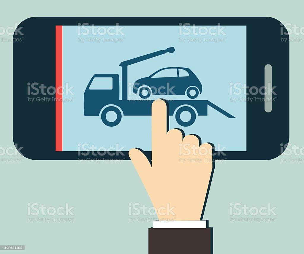 Wrecker Car Service Call vector art illustration