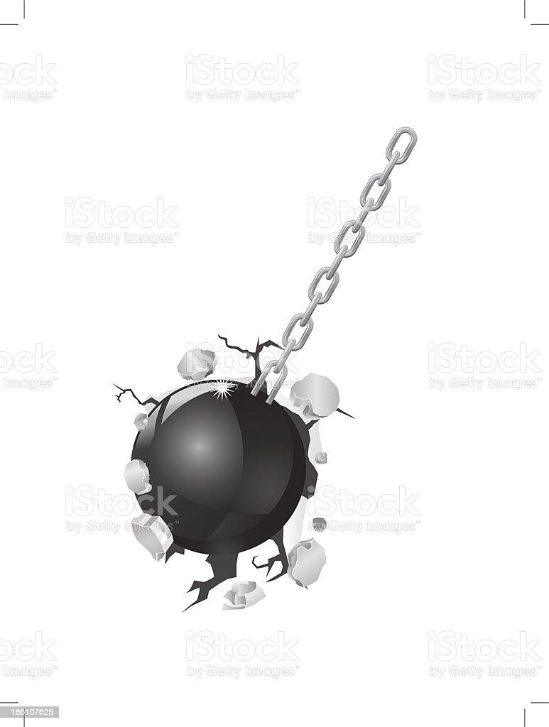 Wrecking Ball destroying a wall vector art illustration