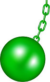 Wrecking ball in green design on white background