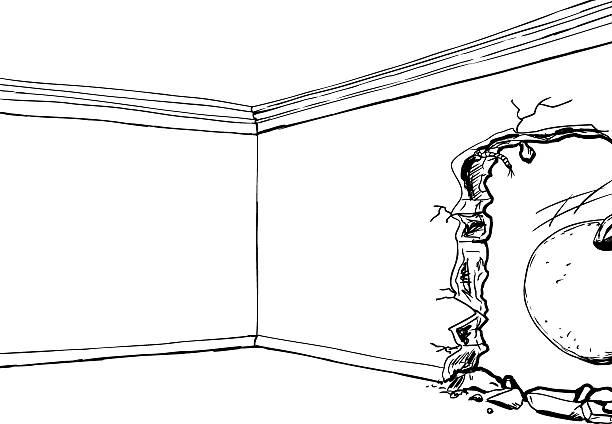 abrißbirne in der nähe von loch in der wand - gesims stock-grafiken, -clipart, -cartoons und -symbole