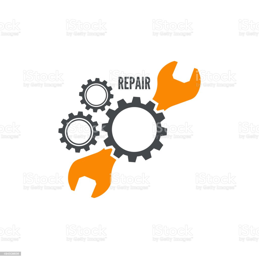 Wrench and gear icon vector art illustration