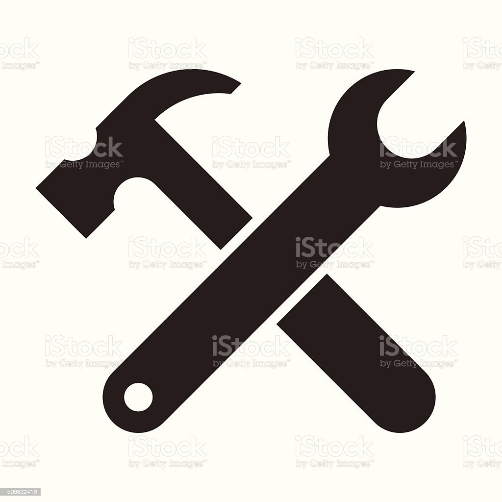 Wrench and hammer. Tools icon vector art illustration