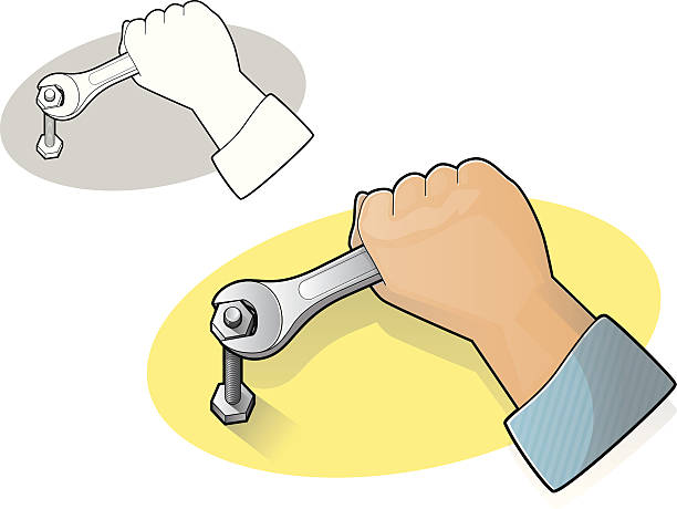 Wrench and Hand Icon vector art illustration