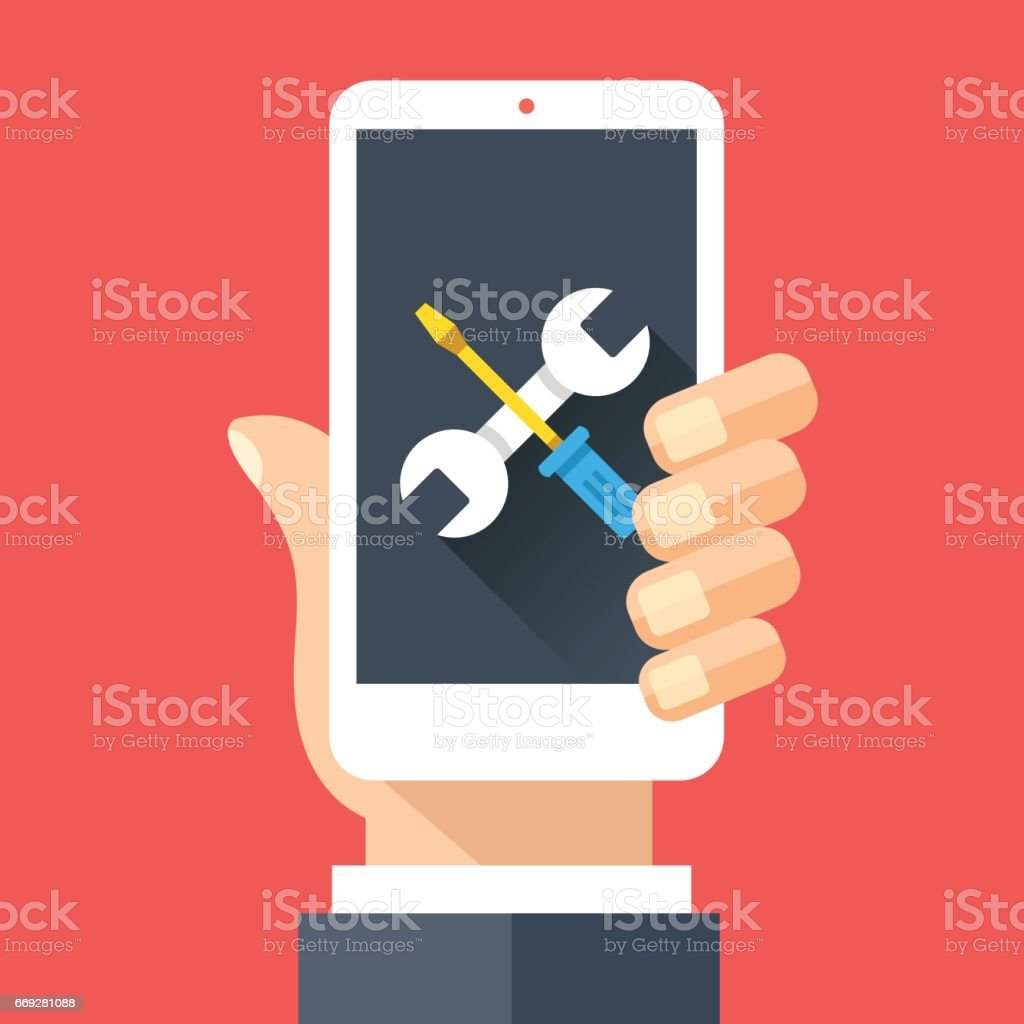 Wrench and screwdriver icon on smartphone screen. Hand holding smartphone. Fix, maintenance, mobile phone repair service concepts. Flat design vector illustration vector art illustration
