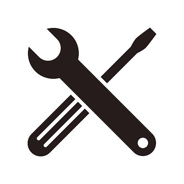 ikona klucza i śrubokręt - klucz stock illustrations