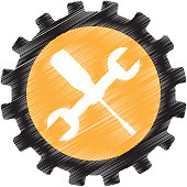 wrench and screwdriver mechanic tools icon