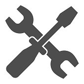 Wrench and screwdriver solid icon. Options vector illustration isolated on white. Crossed repair tools glyph style design, designed for web and app. Eps 10
