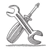 Hand-drawn vector drawing of a Wrench And a Screwdriver Tool. Black-and-White sketch on a transparent background (.eps-file). Included files are EPS (v10) and Hi-Res JPG.