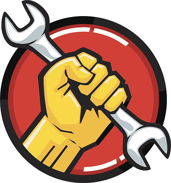 wrench fist vector art illustration