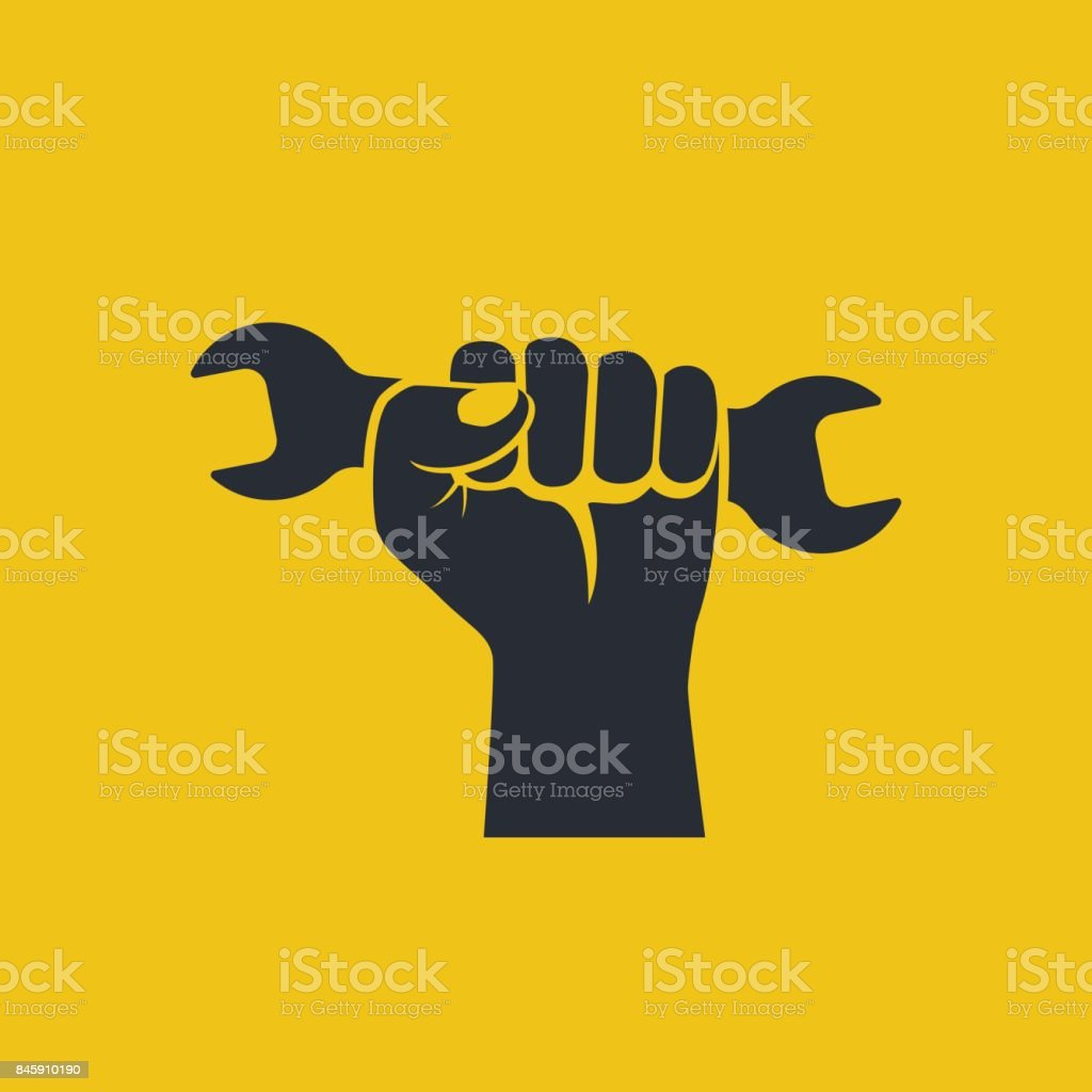 Wrench in hand icon. vector art illustration