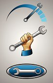 Three icons depicting a mechanic: a speedometer, a hand holding a wrench, and a wrench sign. Files included – jpg, ai (version 8 and CS3), and eps (version 8)