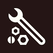 Wrench, nuts and bolt icon