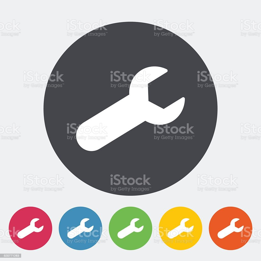 Wrench single flat icon. vector art illustration