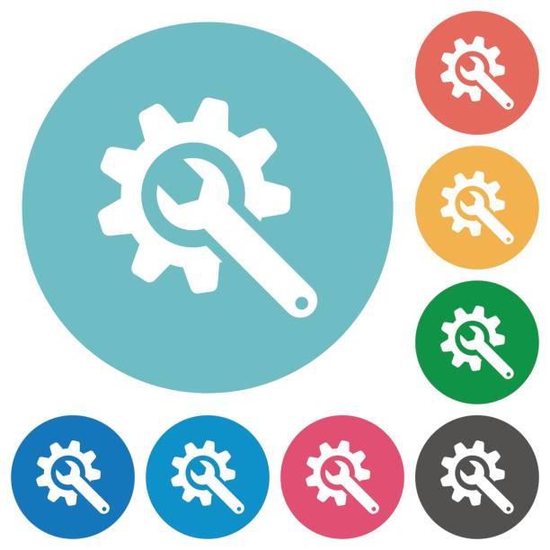 Schraubenschlüssel mit Zahnrad flache Runde Symbole – Vektorgrafik