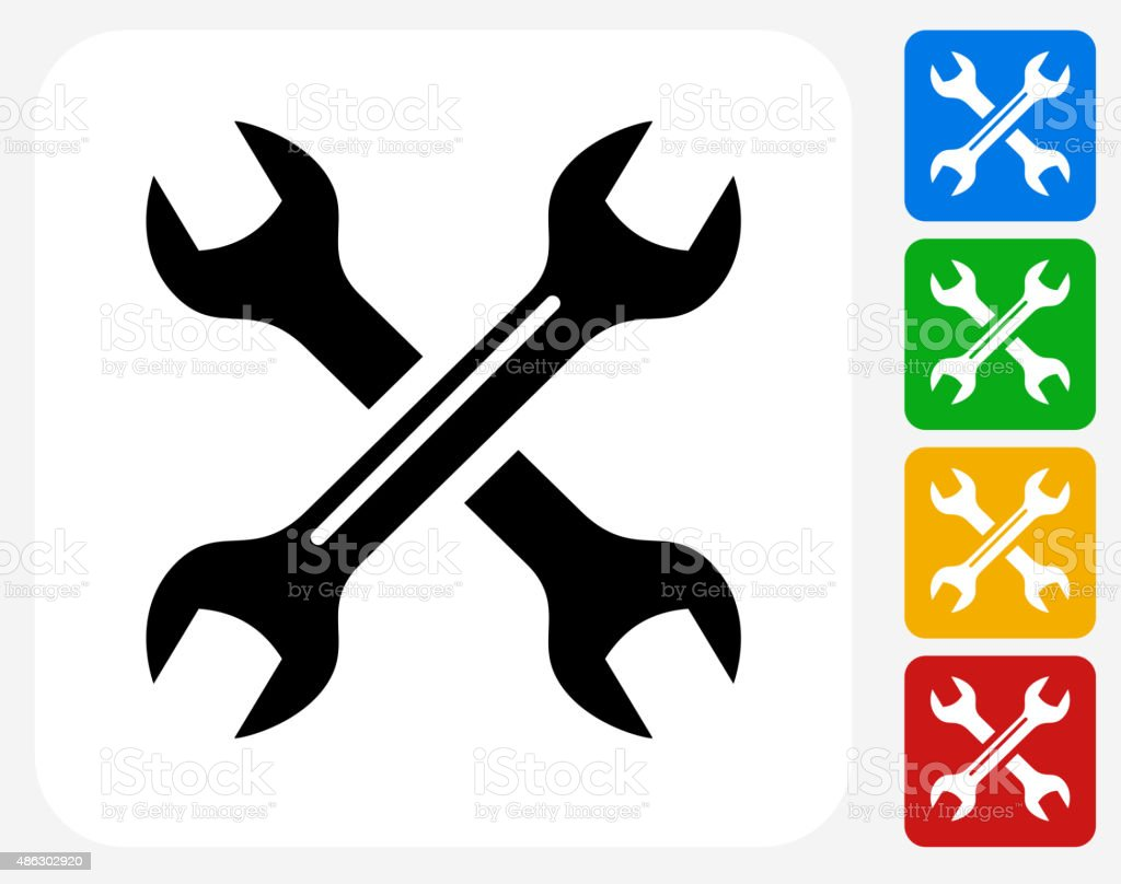 Wrenches Icon Flat Graphic Design vector art illustration