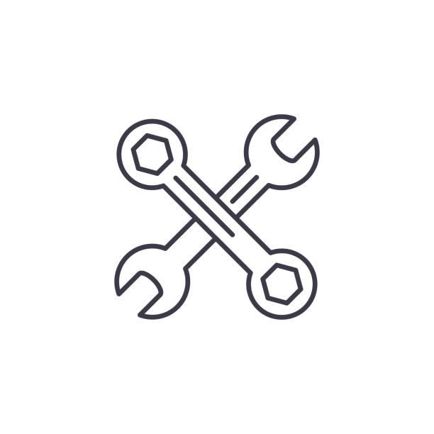 扳手線性圖示概念。扳手線向量符號, 符號, 插圖。向量藝術插圖