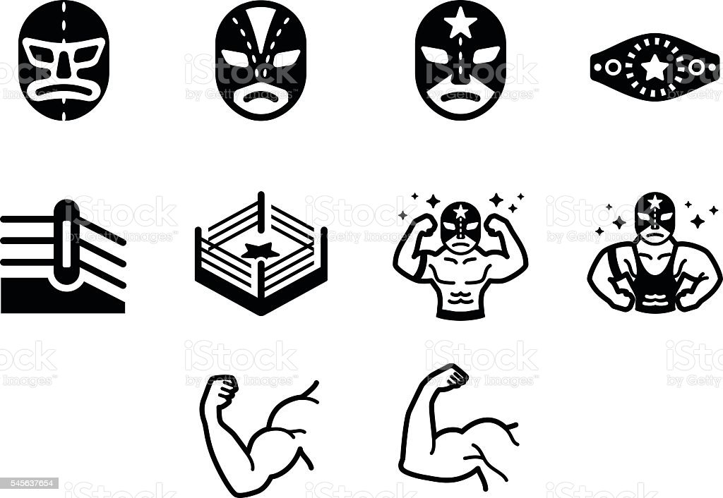 Wrestler Fighter Vector Icon Set vector art illustration