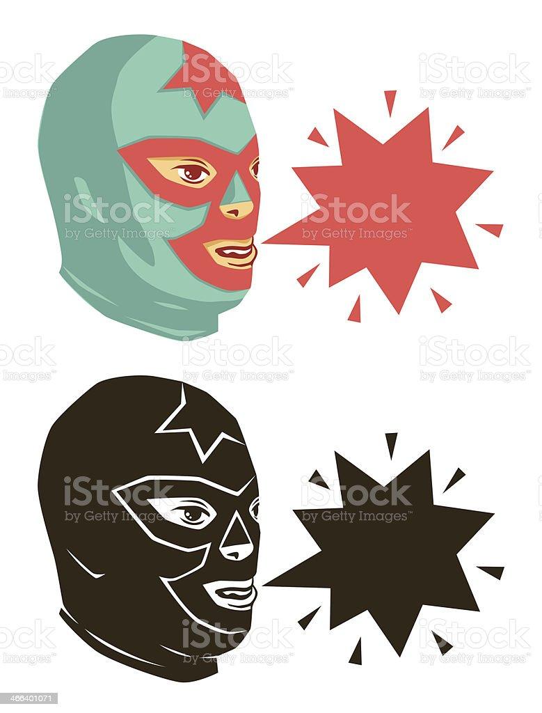 Wrestler Heads vector art illustration