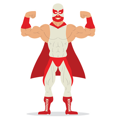 Wrestler in red and white mask