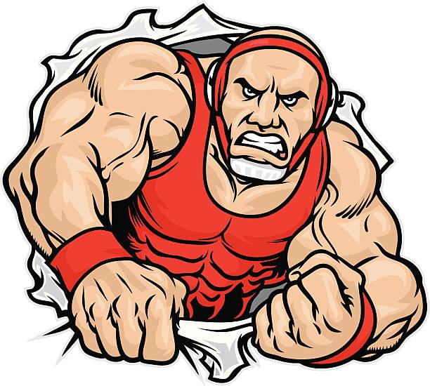 Luchador camisa Rip - ilustración de arte vectorial