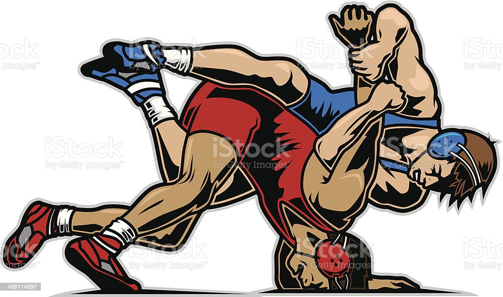 Wrestlers - ilustración de arte vectorial