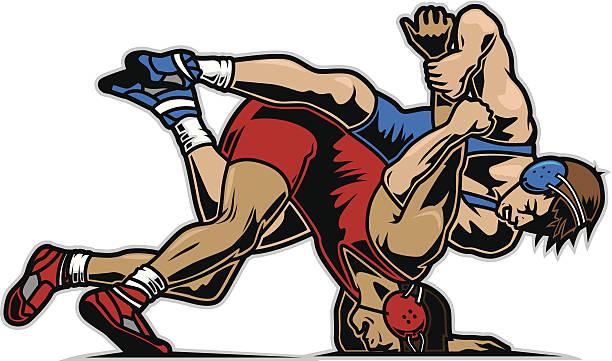 ilustraciones, imágenes clip art, dibujos animados e iconos de stock de wrestlers - lucha